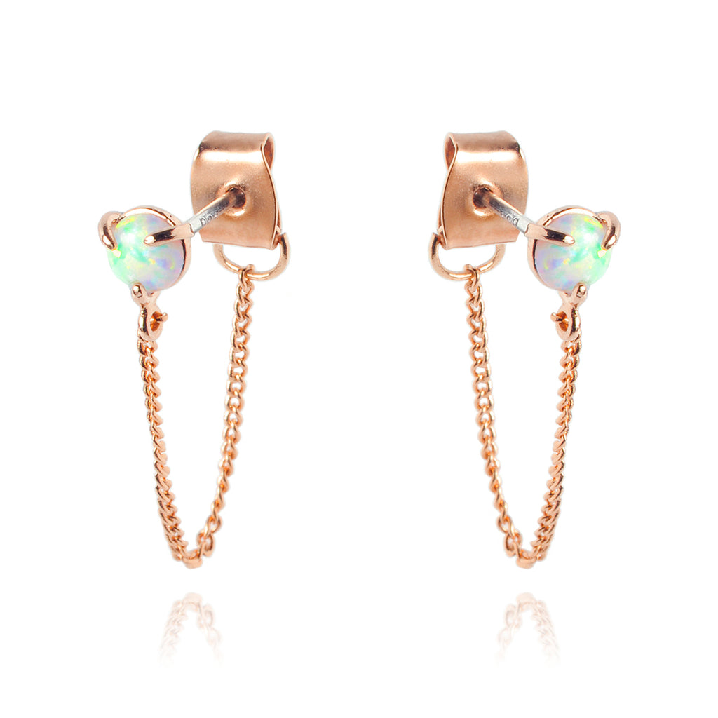 Opal Chain Earrings - rose gold
