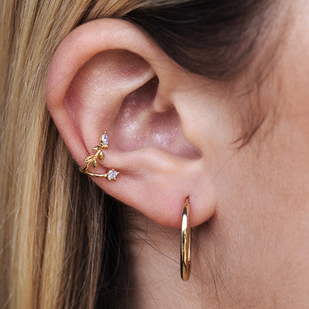 Ivy Flower Ear Cuff on model - gold