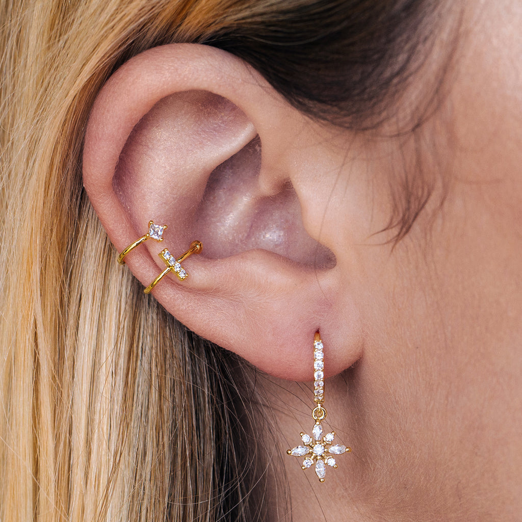 Radiant Gemstone Sleeper Earrings on model - gold