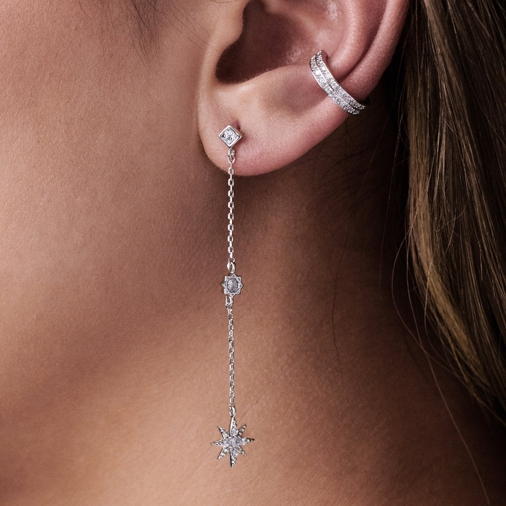 Rising Star Chain Earrings on model - silver
