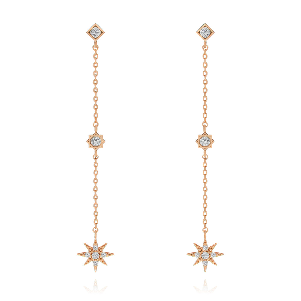 Rising Star Chain Earrings - rose gold