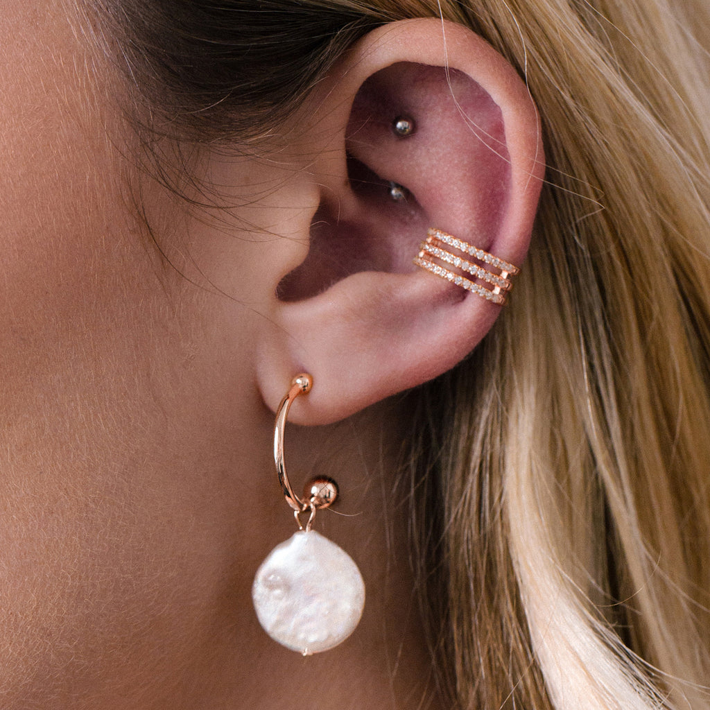 Rita Freshwater Pearl Earrings on model - rose gold