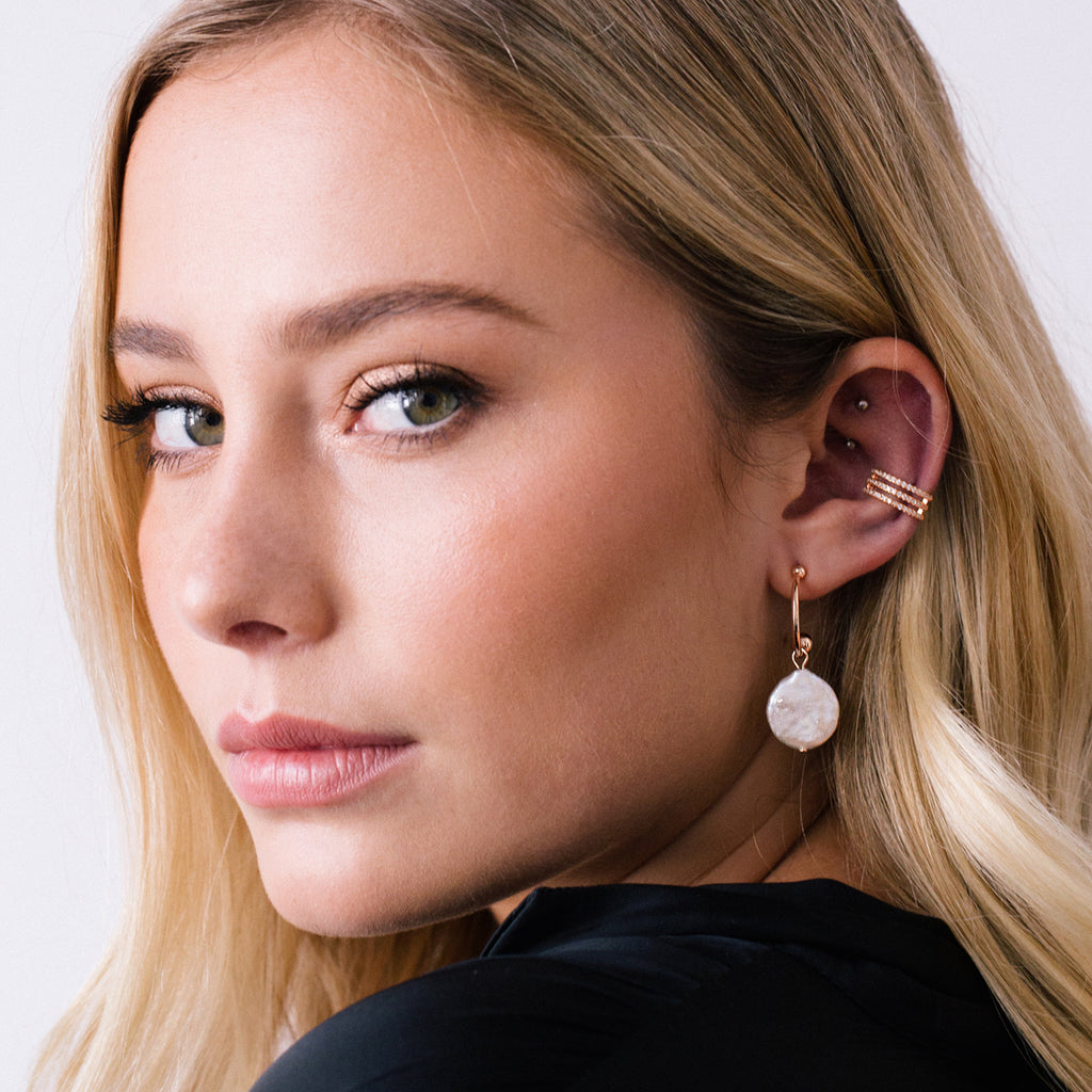 Rita Freshwater Pearl Earrings on model 2 - rose gold