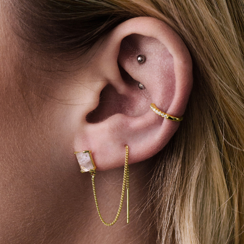 Rose Quartz Chain Earrings on model - gold