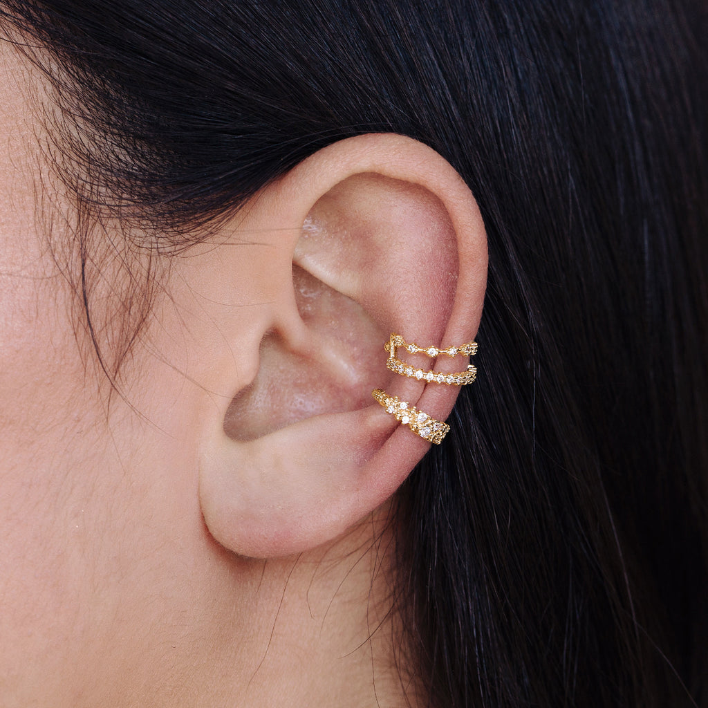 Shine Ear Cuff on model - gold