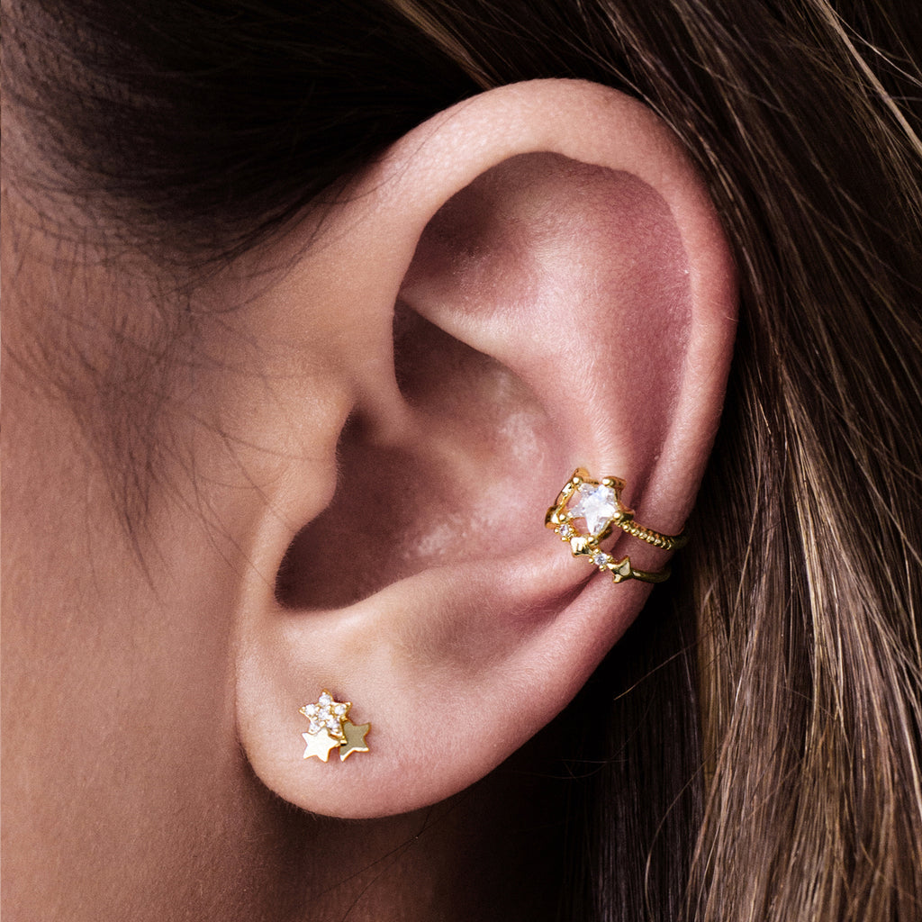 Sparkle Stars Stud Earrings on model - 14KT solid gold