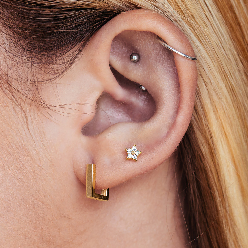 Square Sleeper Earrings on model - gold