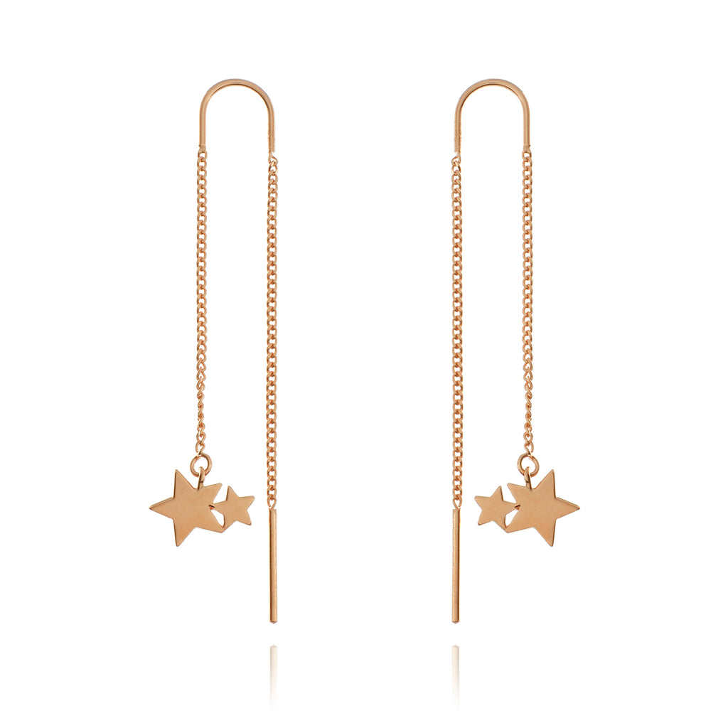 Stardrop Thread Earrings - rose gold