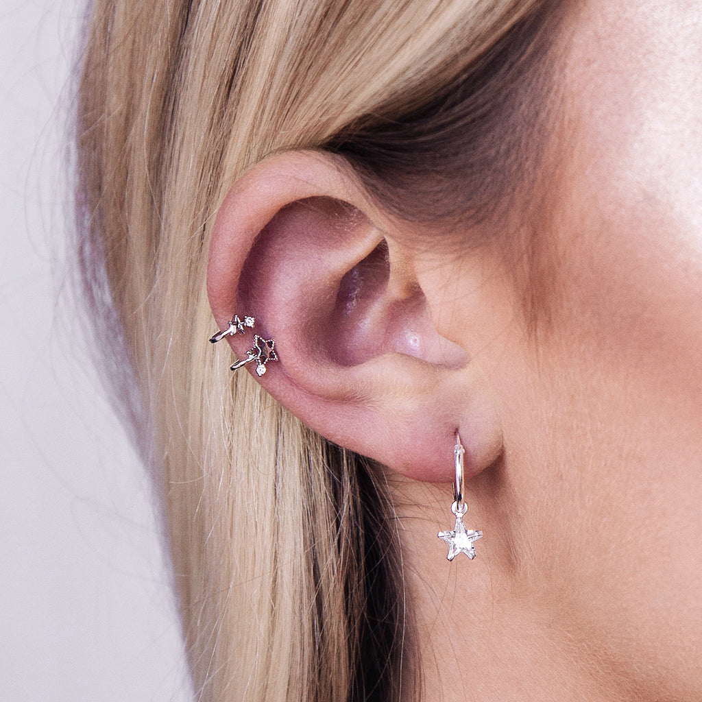 Stellar Star Ear Cuff on model - silver