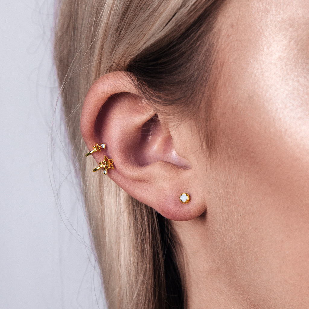 Stellar Star Ear Cuff on model - gold