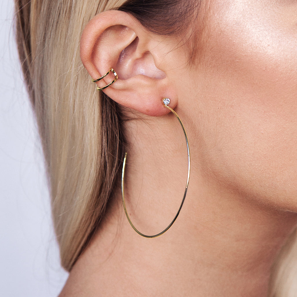 Storm Hoop Earrings on model - gold