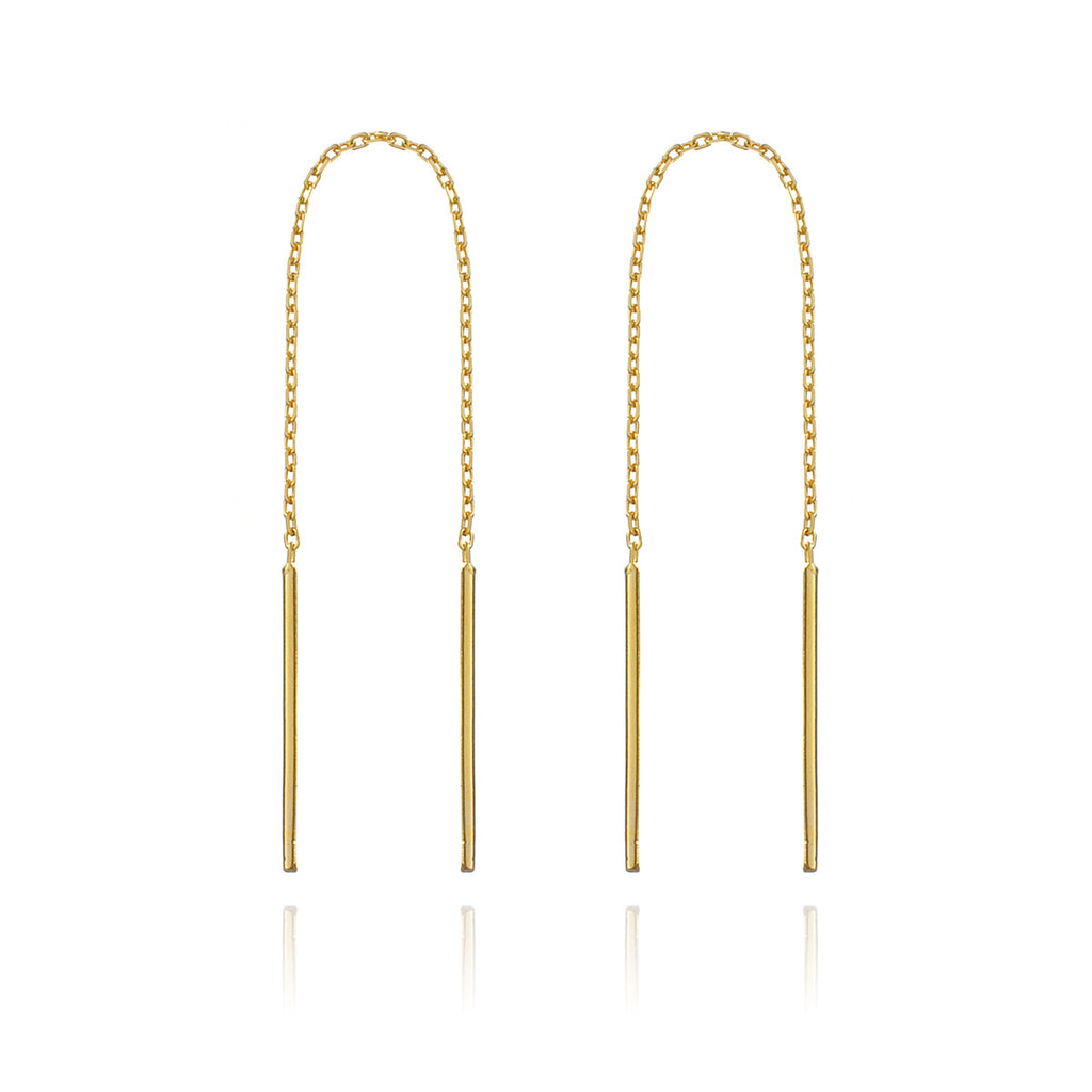Threaded Rod Earrings - Gold