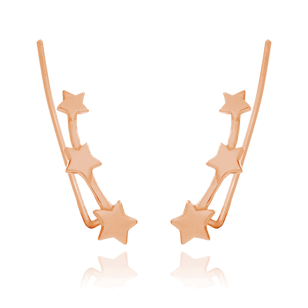 Triple Star Ear Climber - rose gold