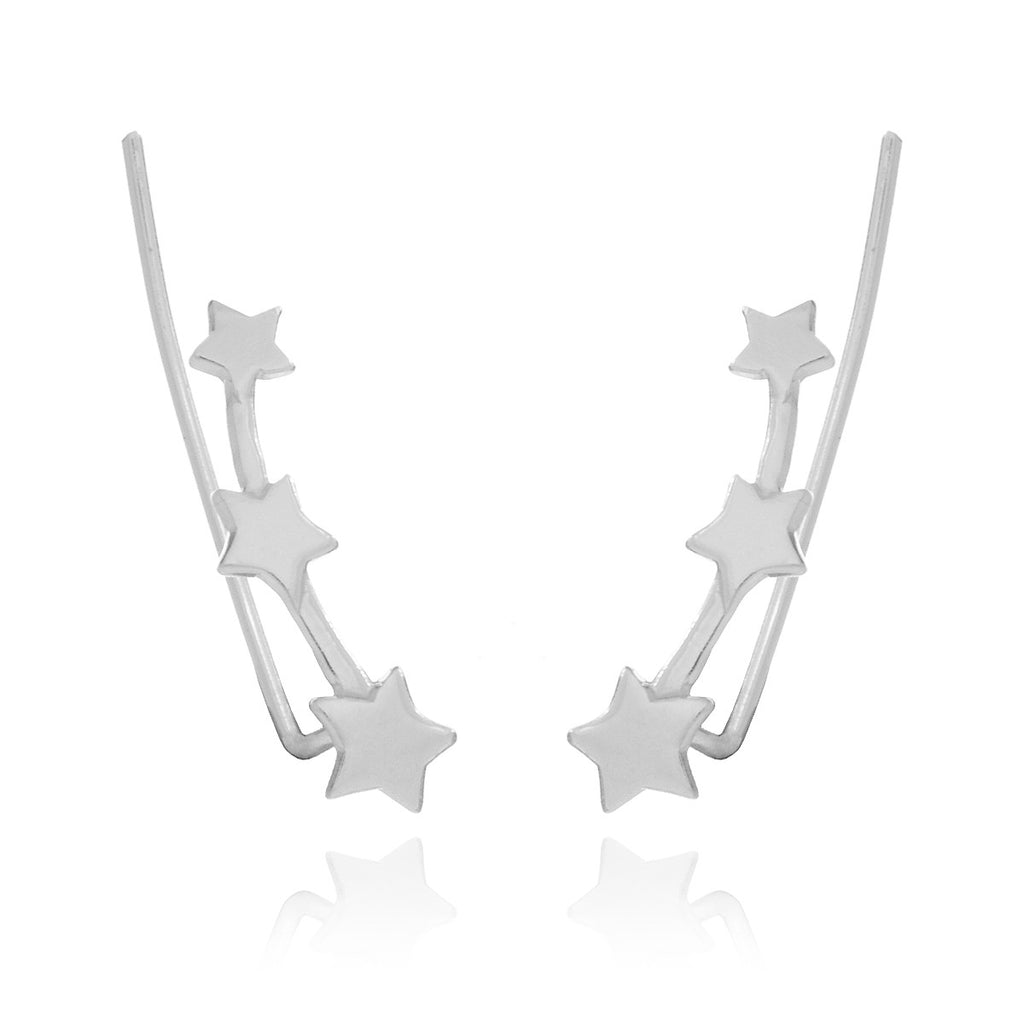 Triple Star Ear Climber Earrings - sterling silver