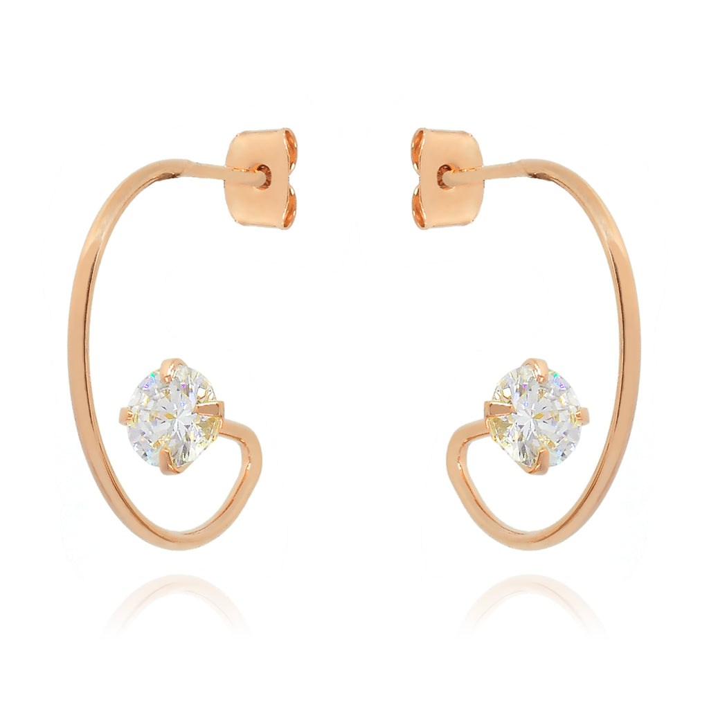 Vision Gem Hoop Earrings - rose gold