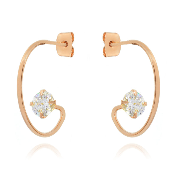 Vision Gem Hoop Earrings on model 2 - rose gold