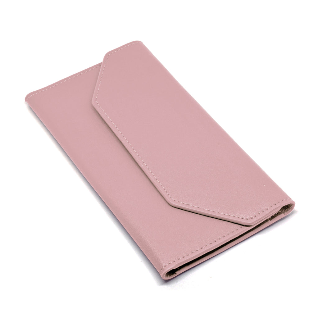 Moby Leather Wallet angle - blush pink