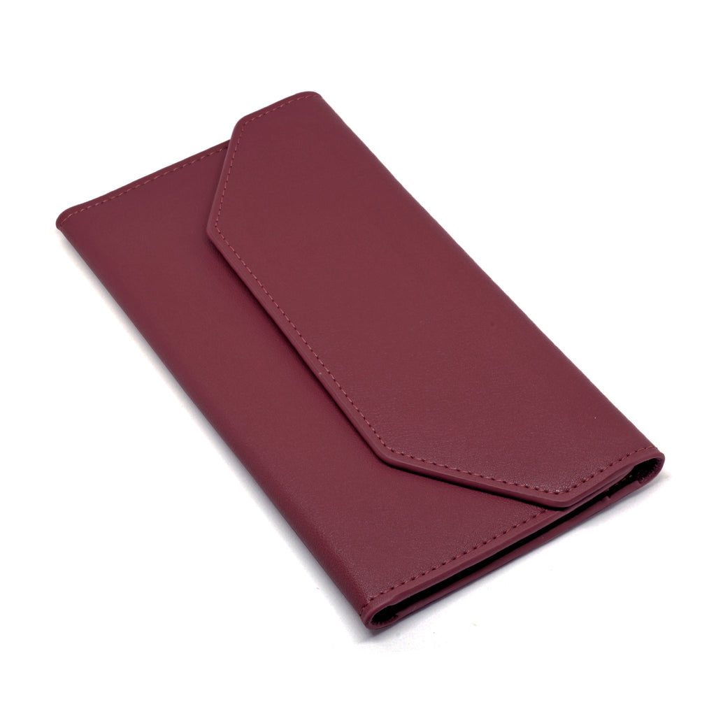 Moby Leather Wallet angle - burgundy