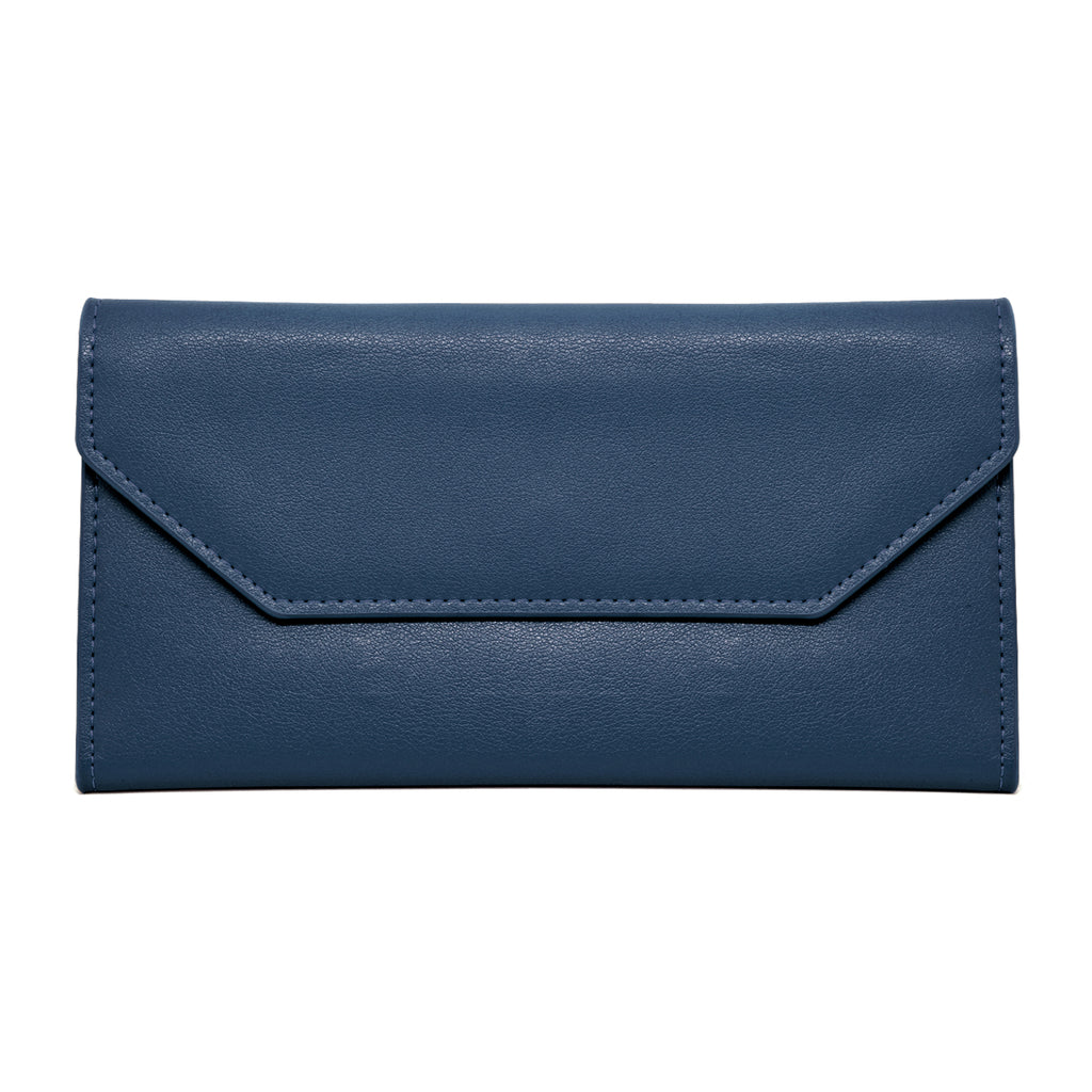Moby Leather Wallet front - royal blue