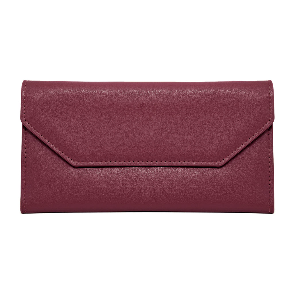 Moby Leather Wallet front - burgundy