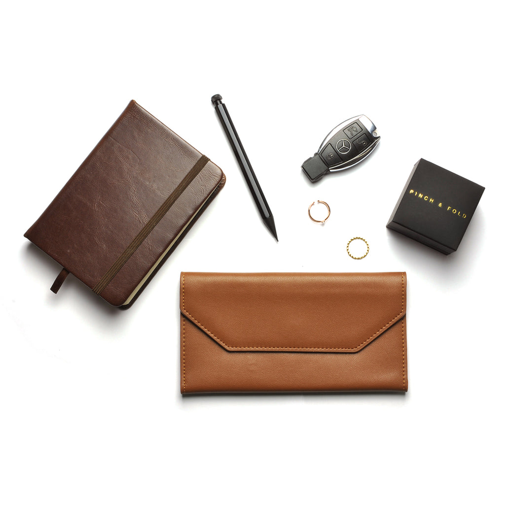 Moby Leather Wallet scale - tan
