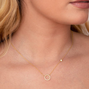 Afterglow Halo Gemstone Necklace on model - gold