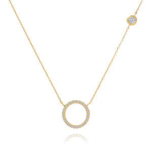 Afterglow Halo Gemstone Necklace - gold