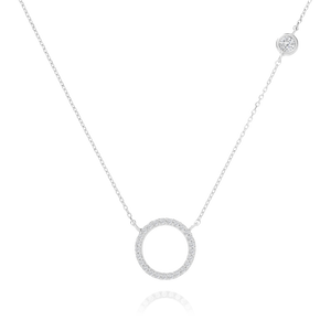 Afterglow Halo Gemstone Necklace - sterling silver