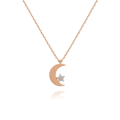 Celeste Moon & Star Necklace - rose gold