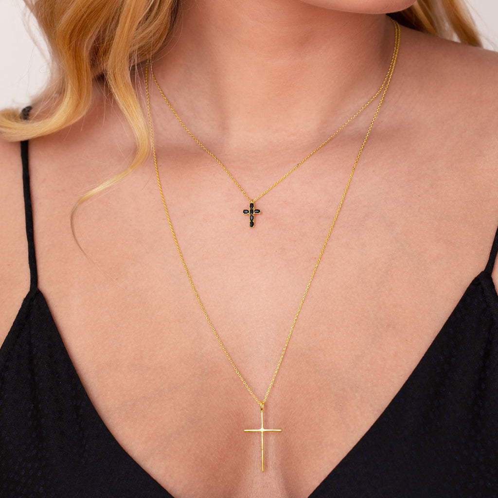 Gemini Cross Necklace on model - gold