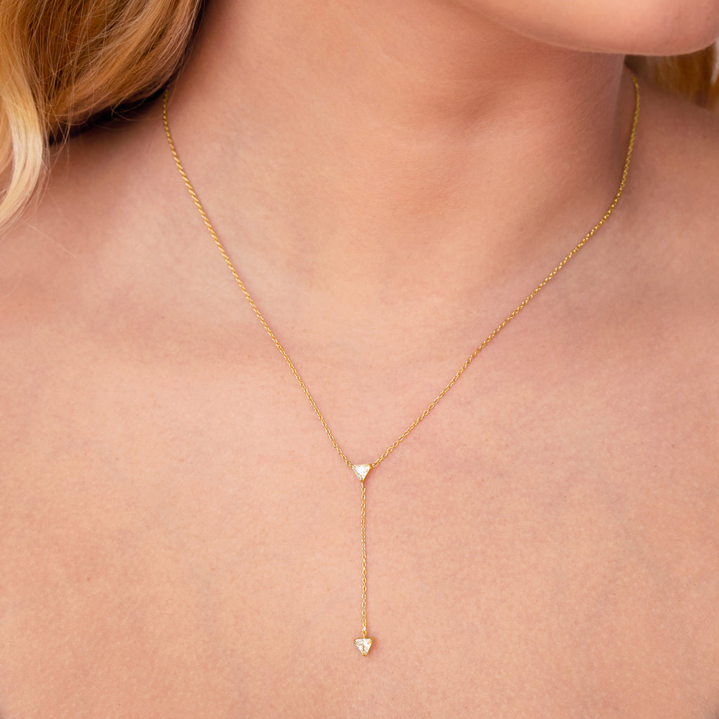 Legacy Pendulum Chain Necklace on model - gold