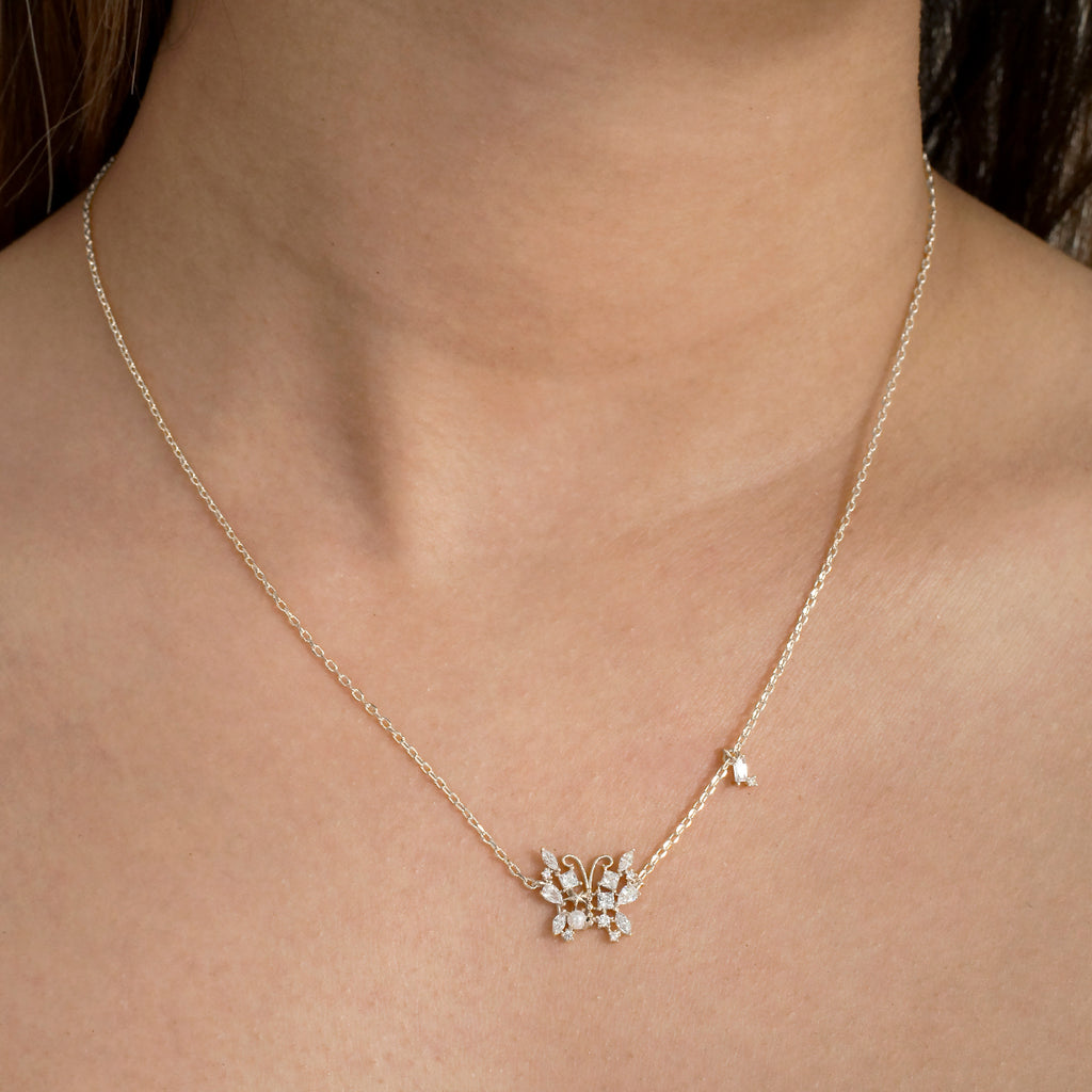 Papillon Gemstone Butterfly Necklace on model - silver