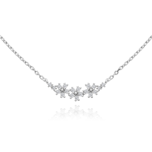Triple Daisy Gemstone Necklace - silver