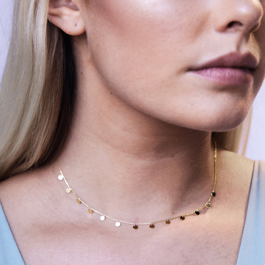 Lia Sequin Pendant Necklace on model - gold
