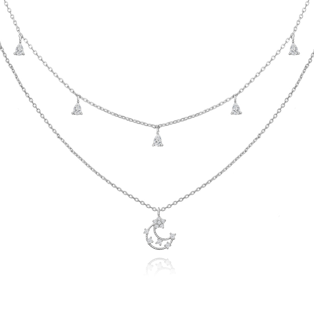 Cosmic Lullaby Moon Necklace - silver