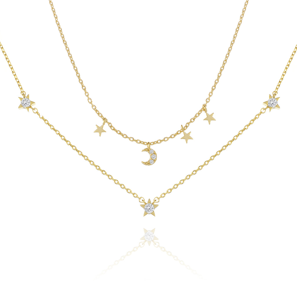 Cosmos Layered Chain Necklace - gold