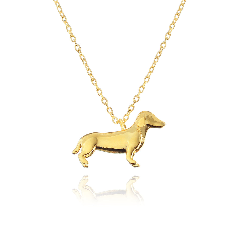 Lowrider Dachshund Dog Necklace - gold