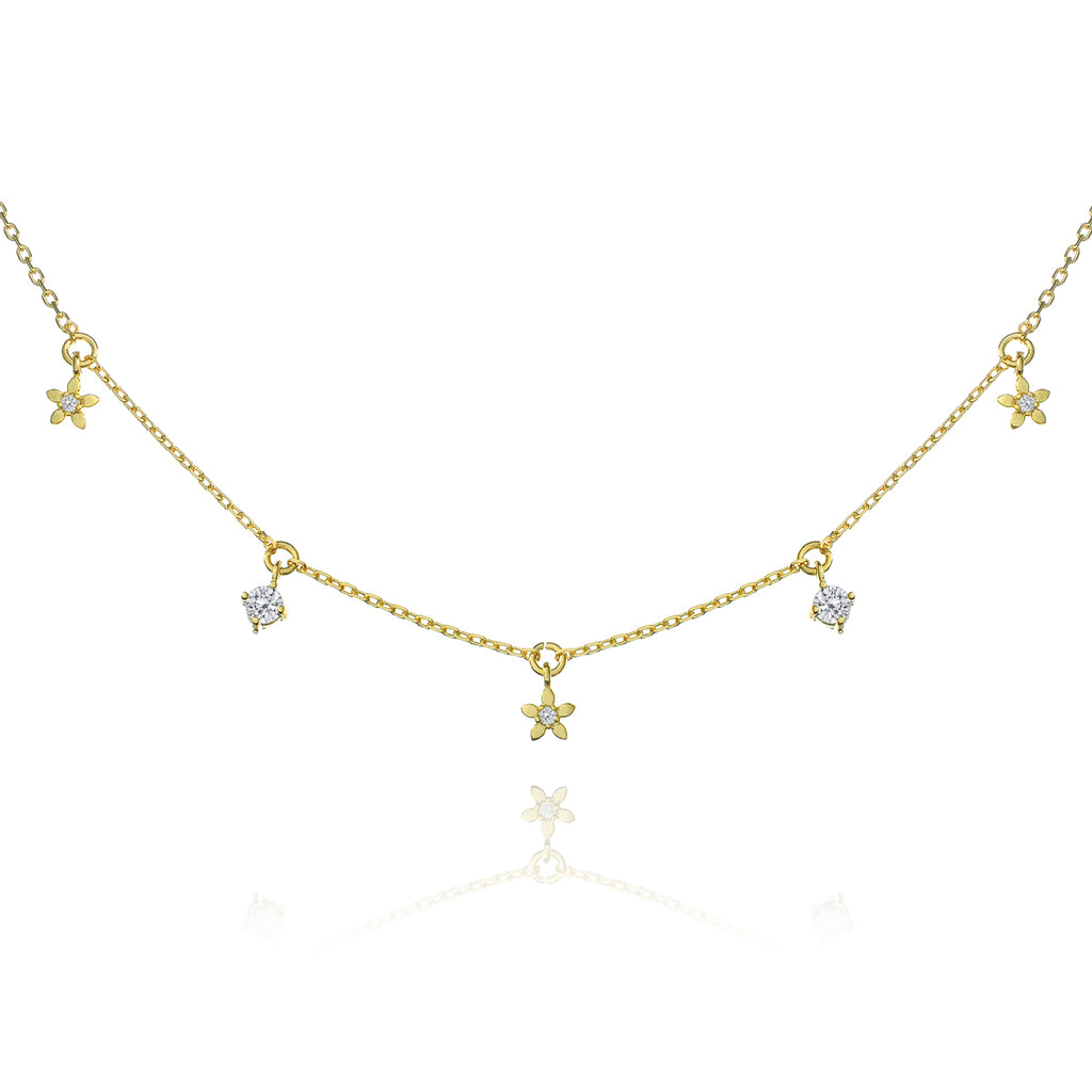 Daisy Chain Gem Necklace - gold
