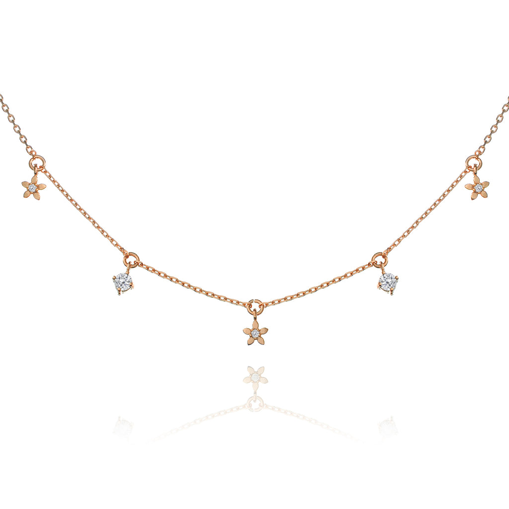 Daisy Chain Gem Necklace - rose gold