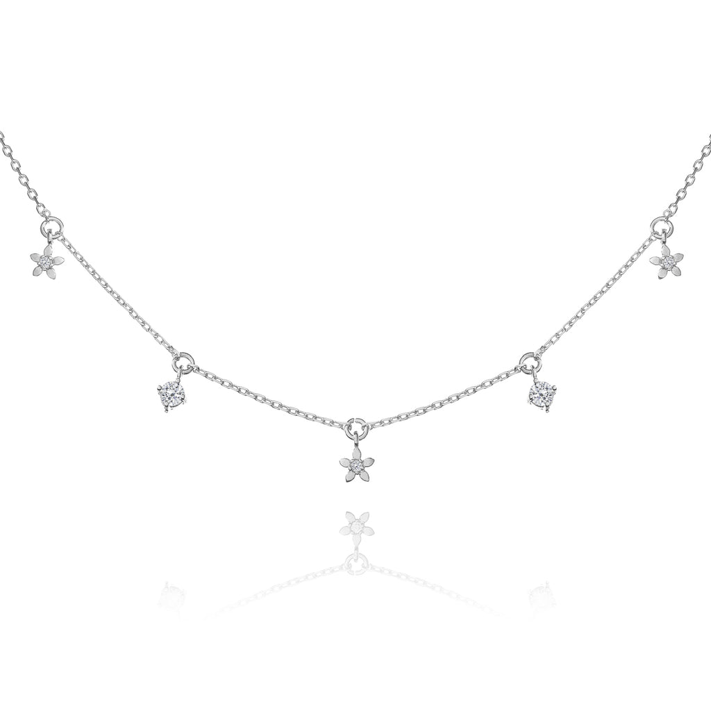 Daisy Chain Gem Necklace - silver