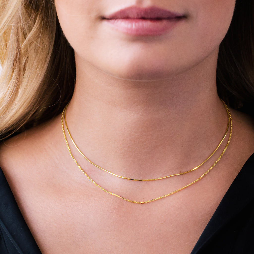 Gemini Twin Chain Necklace on model - gold