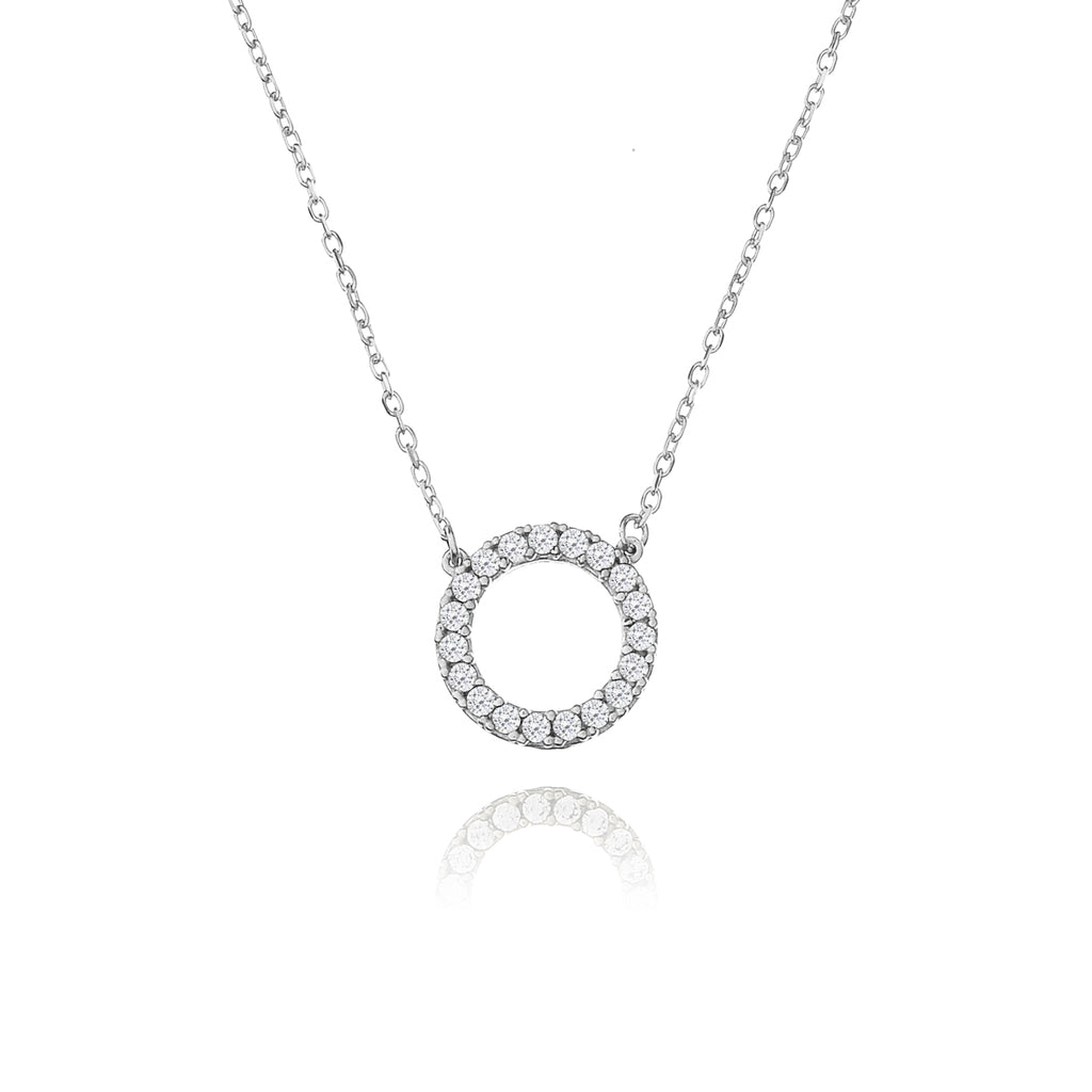 Genesis Gem Hollow Circle Necklace - silver