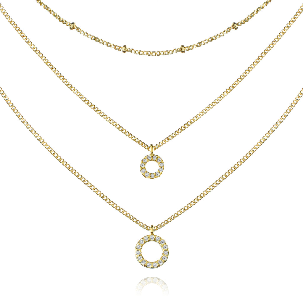 Maestro Halo Triple Chain Necklace - gold