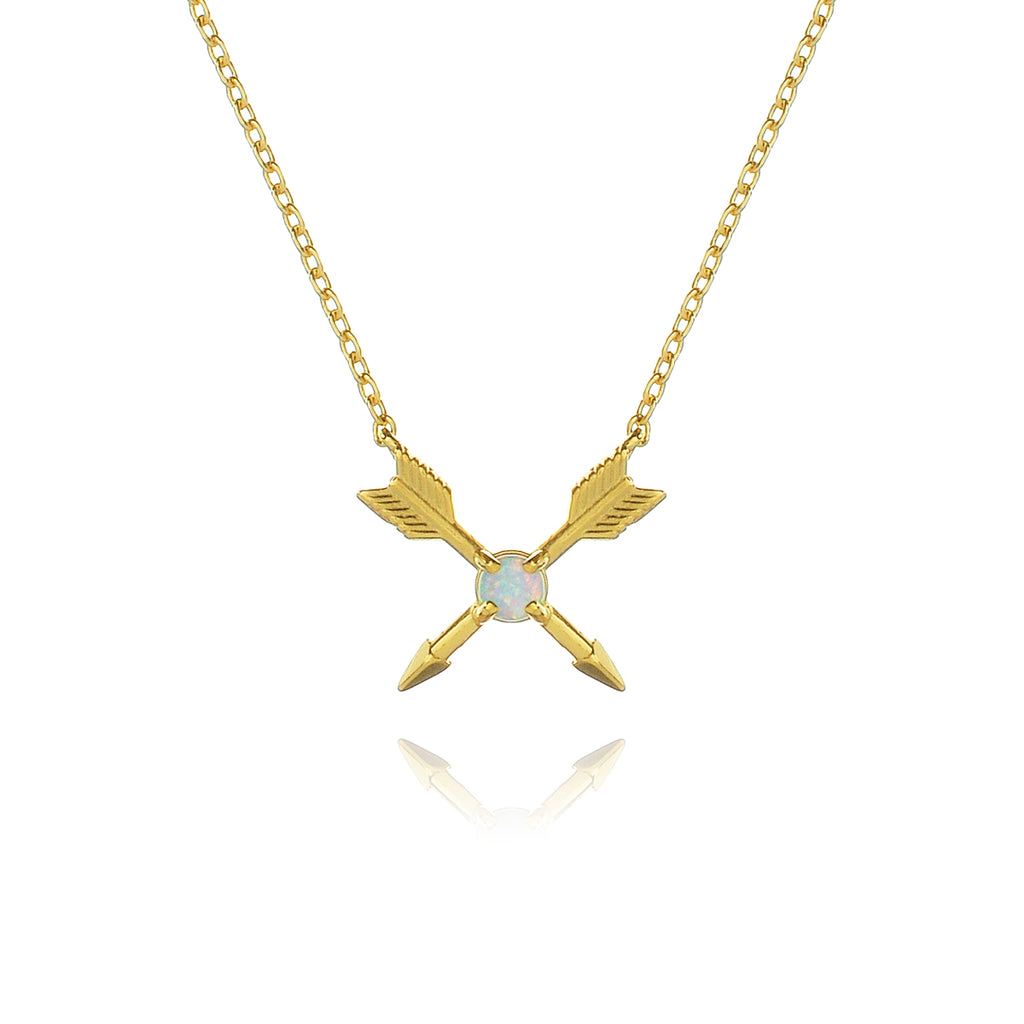 Huntress Opal Arrow Necklace - gold