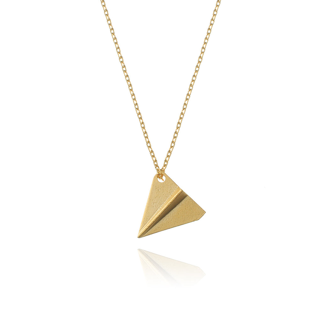 Paper Plane Necklace - gold