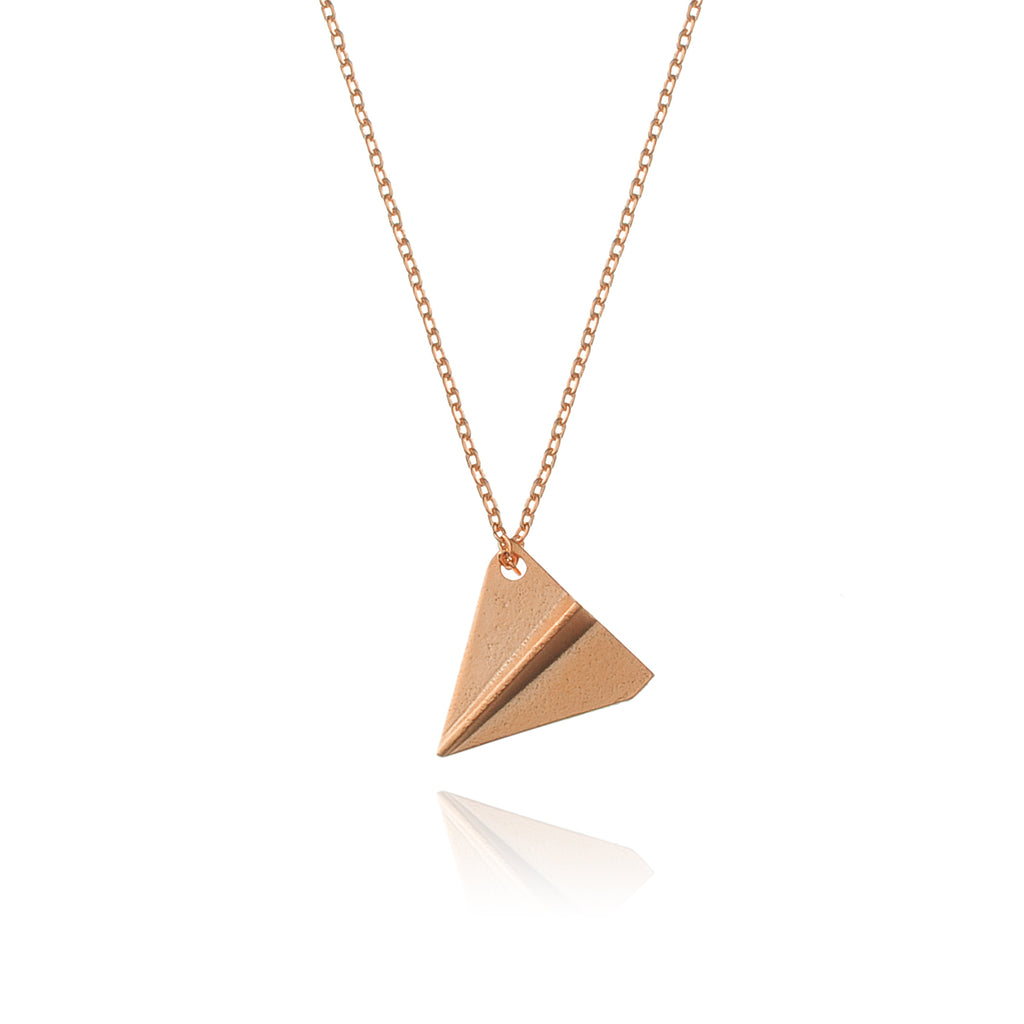 Paper Plane Necklace - rose gold