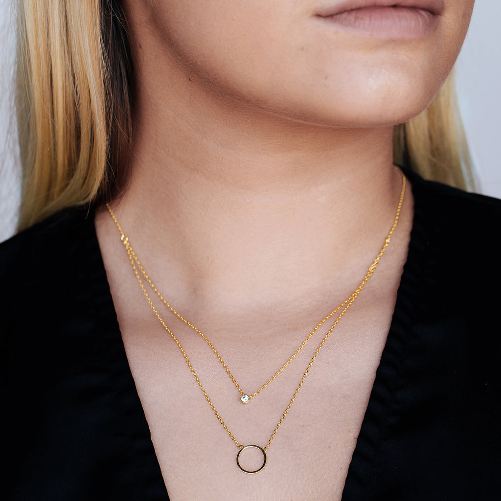 Quincy Circle Tiered Necklace on model - gold