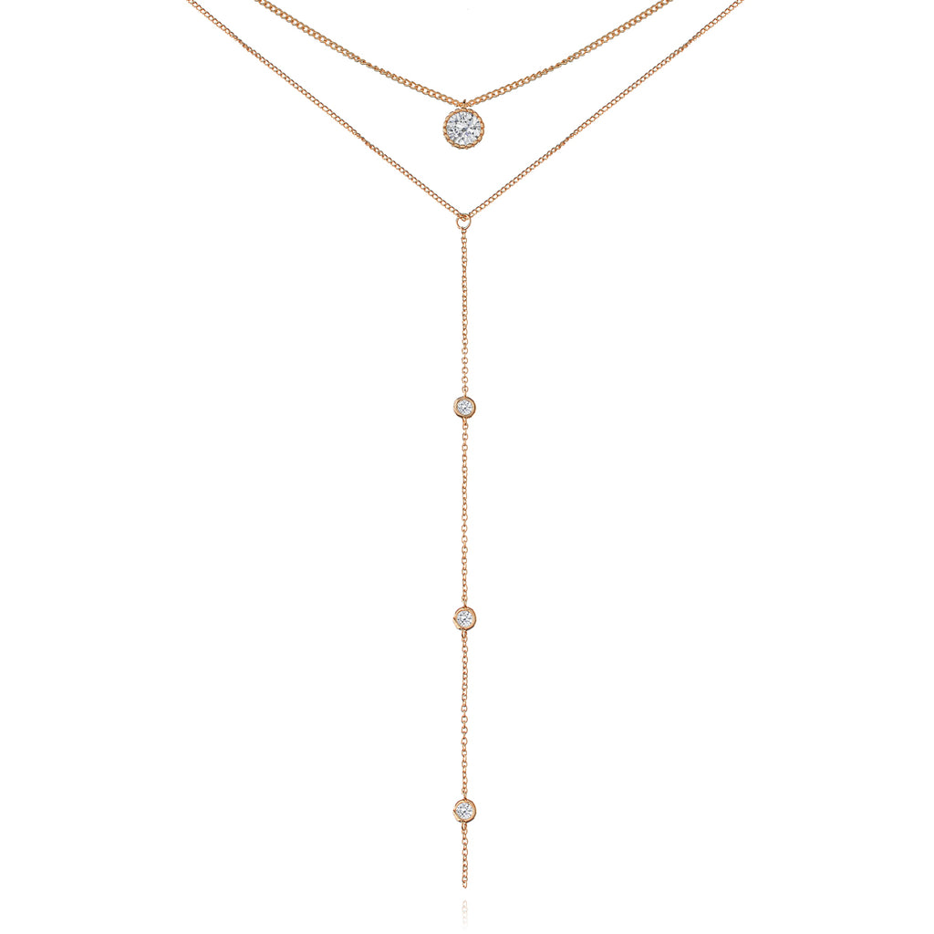 Sovereign Drop Chain Gem Necklace - rose gold