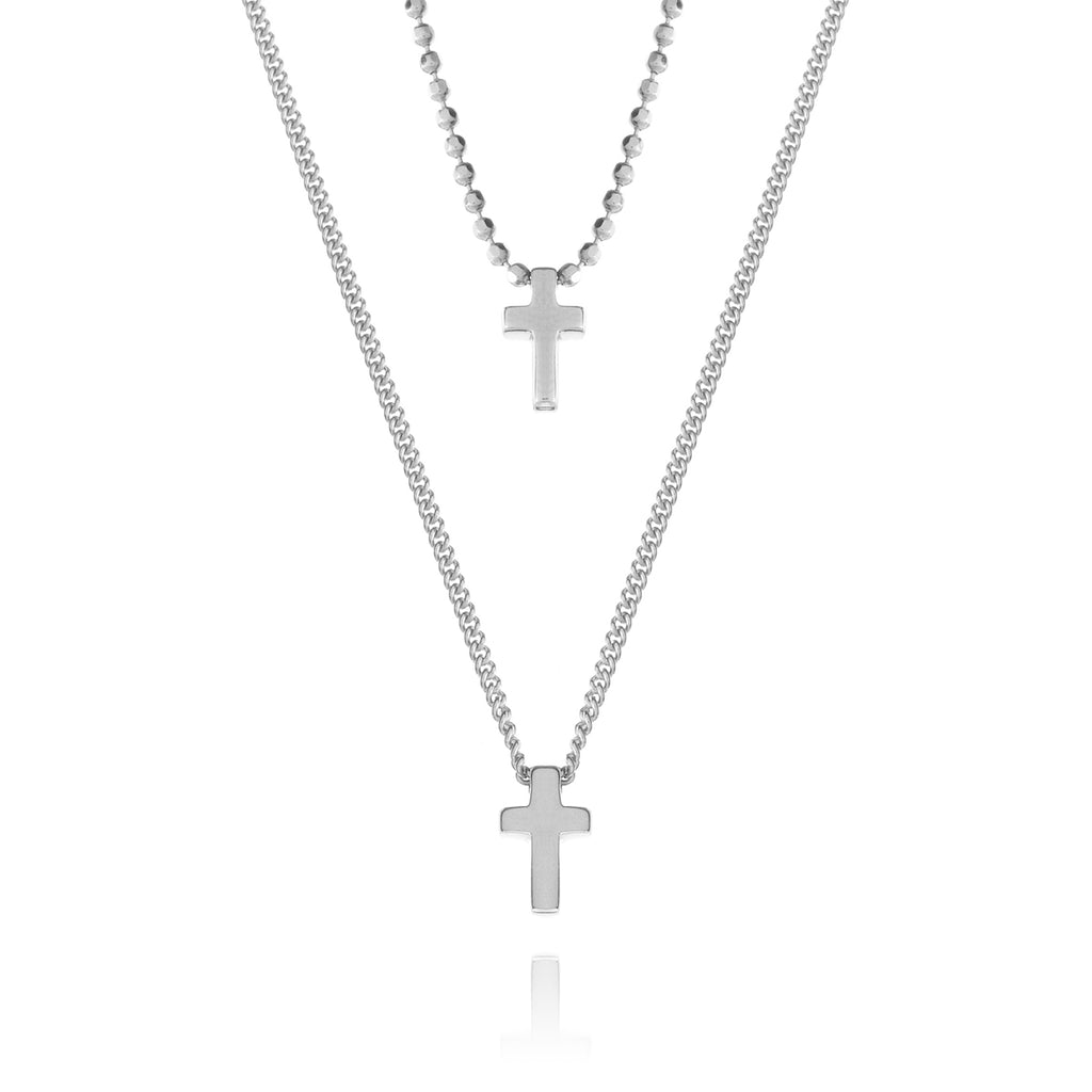 Twin Cross Necklace - silver