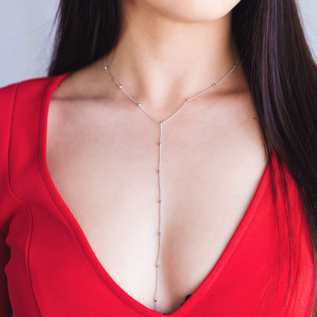 Veronica Drop Chain Necklace on model - gold